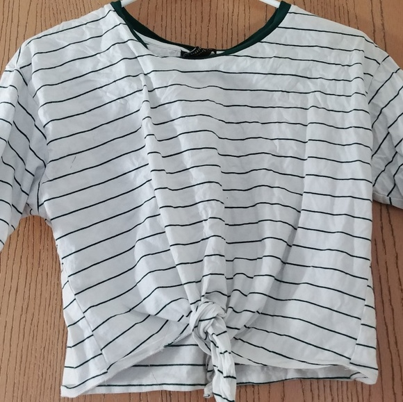 325dd3358b66a4 Forever 21 Tops | Green And White Striped Crop Top | Poshmark